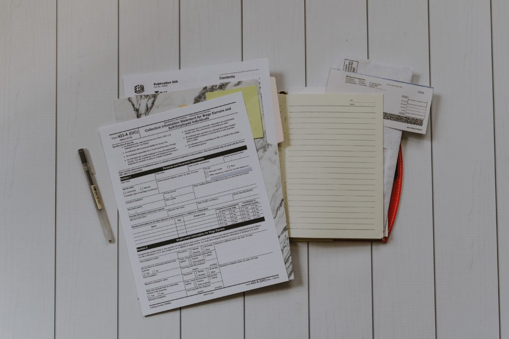 various tax documents and papers